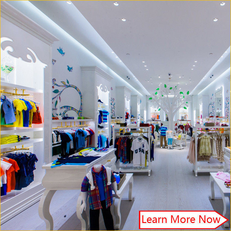 Customized nice design fashion white wooden kids clothing store interior design,kids baby shop design decoration fournisseur