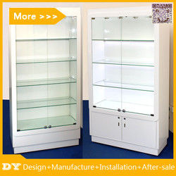 Customized good quality wall glass jewelry display shelves with lighting fournisseur