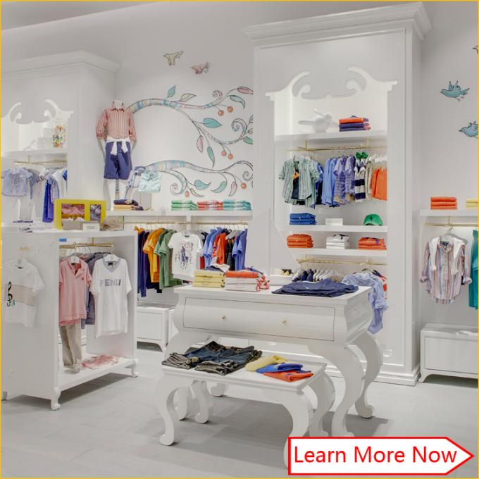 Customized nice design fashion white wooden kids clothing store interior design,kids baby shop design decoration